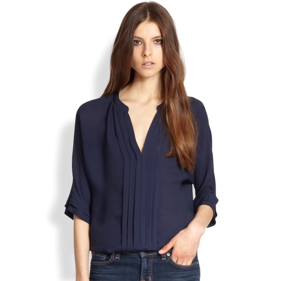 6a30d617c3b51c Joie Tops | Navy Marru Pleated Silk Blouse | Poshmark